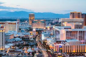 The Strip at dusk, Las Vegas, Nevada, USA