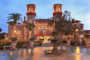 Lightner Museum and Town Square (Alcazar Square) in St Augustine illuminated at dusk