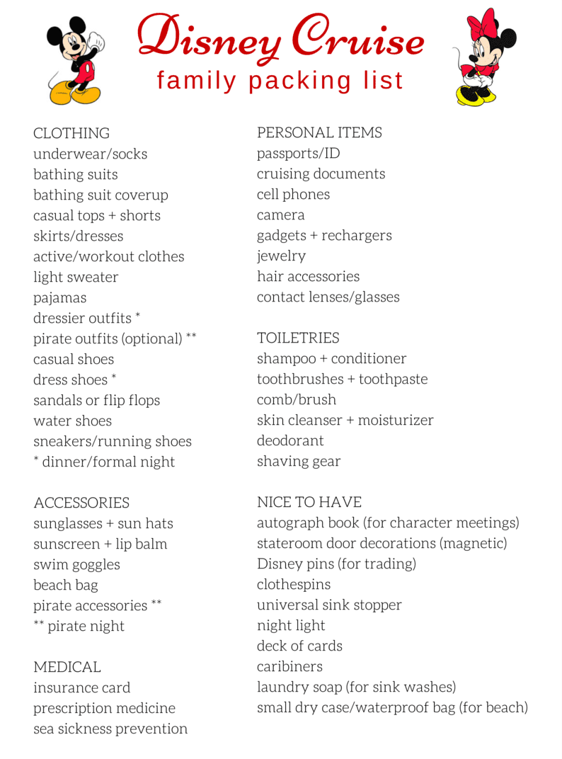 list for vacation packing