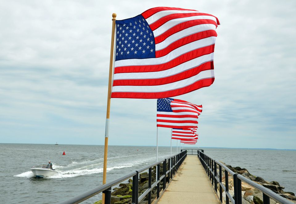 American Flags at Jennings Beach