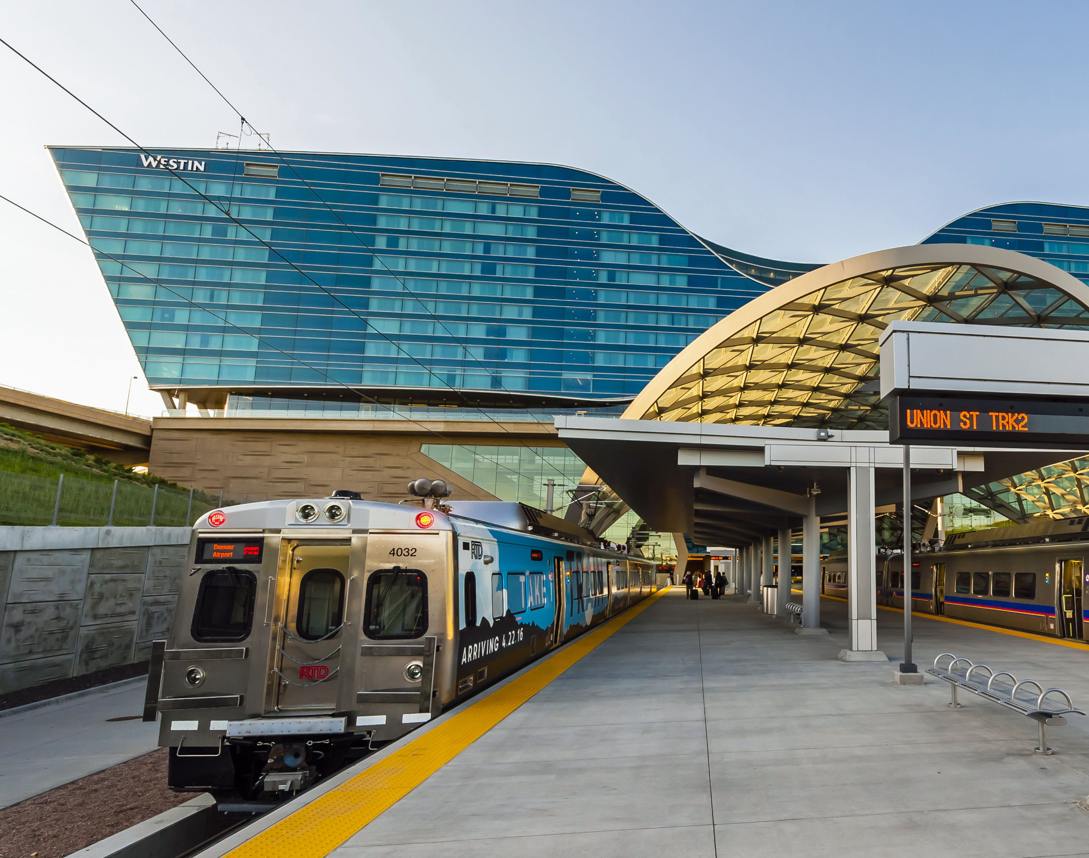 Denver airport terminals are connected to the Westin hotel by train.