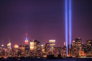 New York City with Tribute in light at night