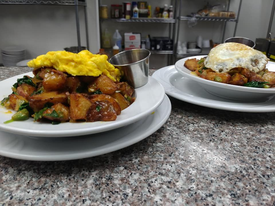 two breakfast plates at Peaches