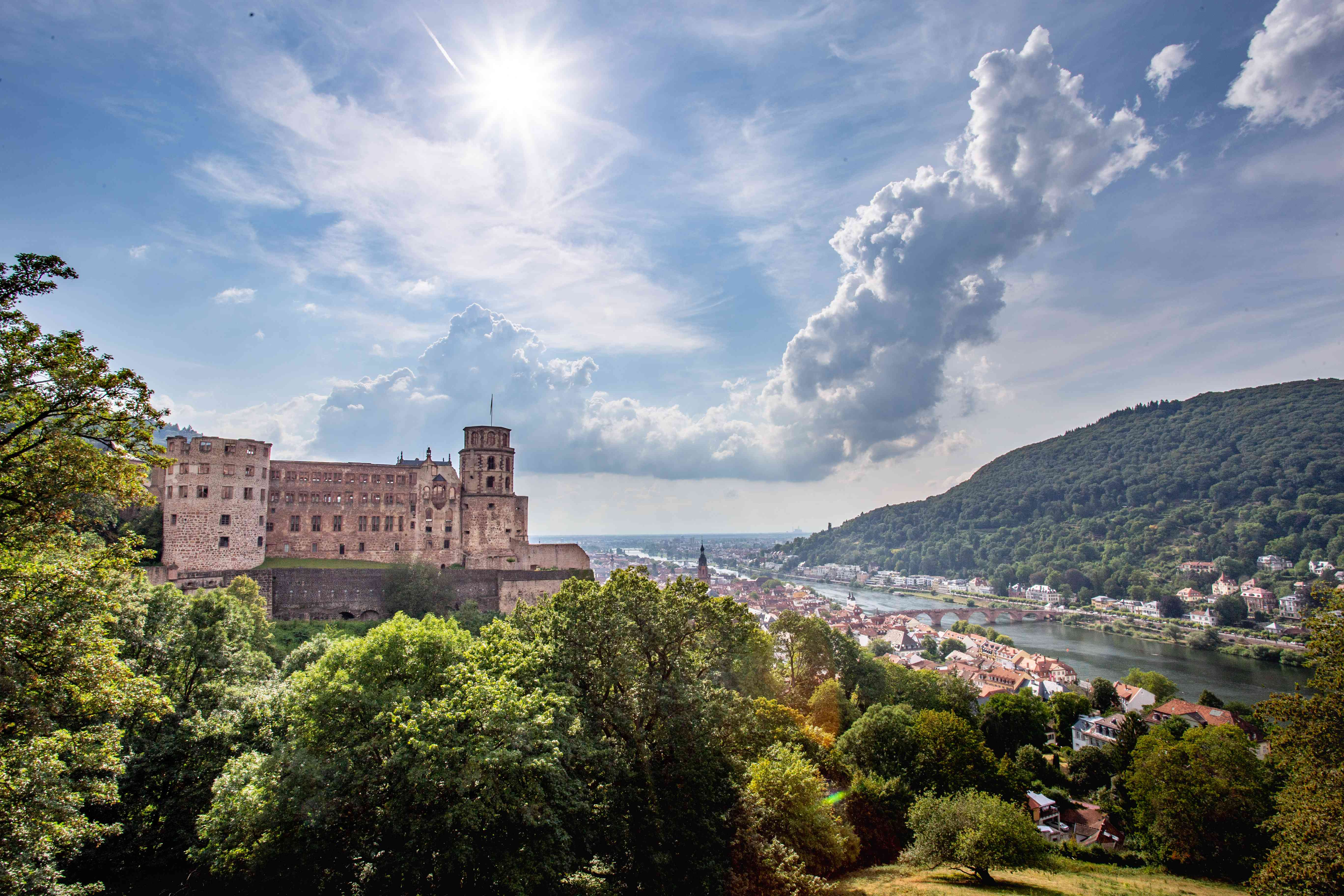 View of Heidelberg on a hill overlooking the river