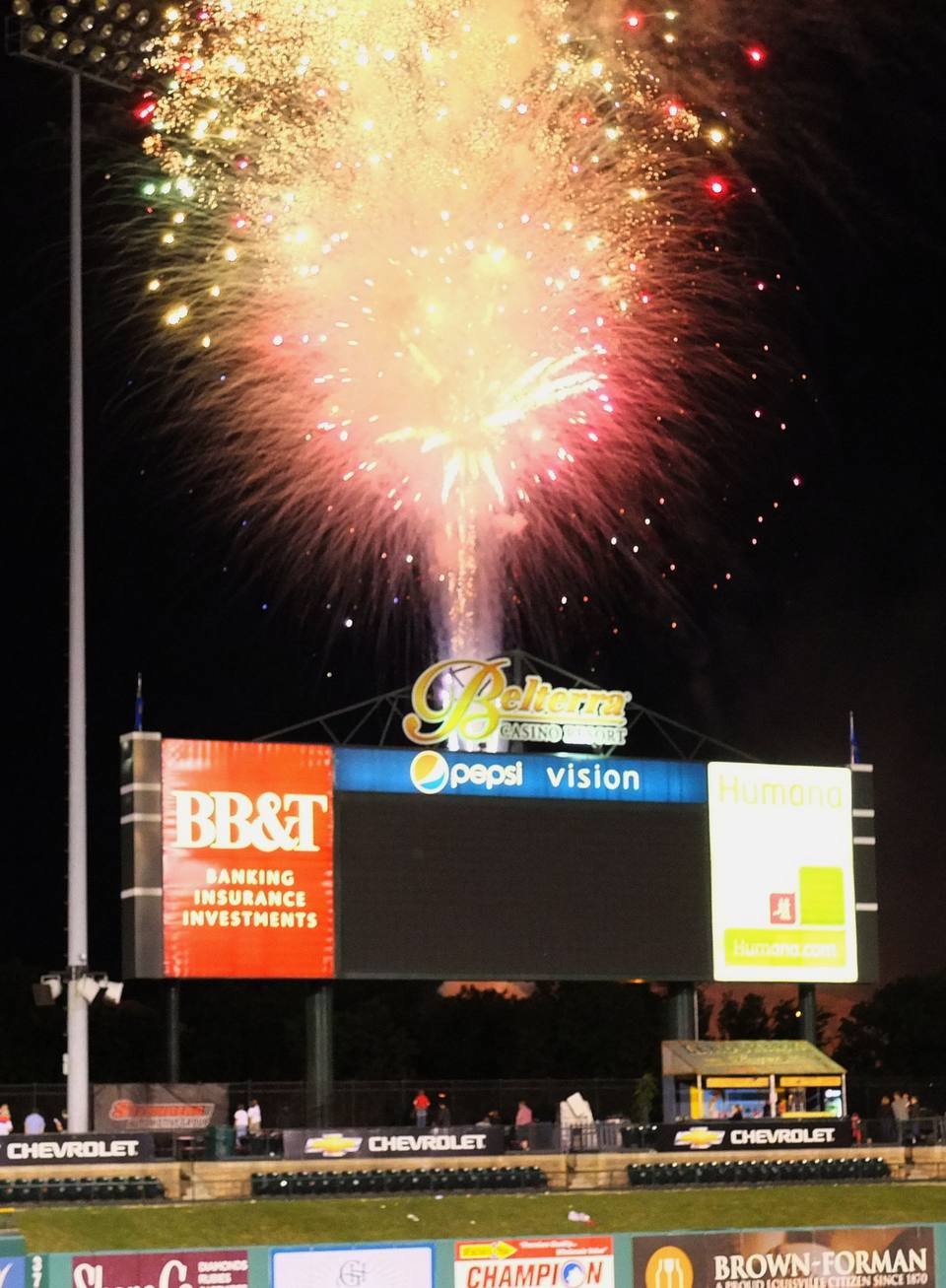 Fireworks at Slugger Field in Louisville, KY