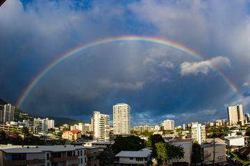 Rainbow over Honolulu, Hawaii