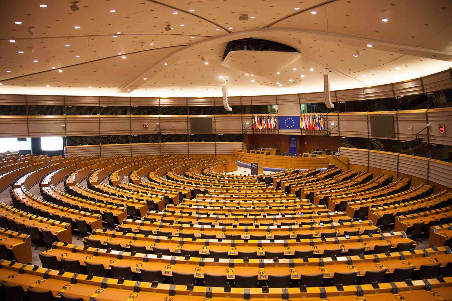 A look at the Hemicycle at European Parliament in Brussels