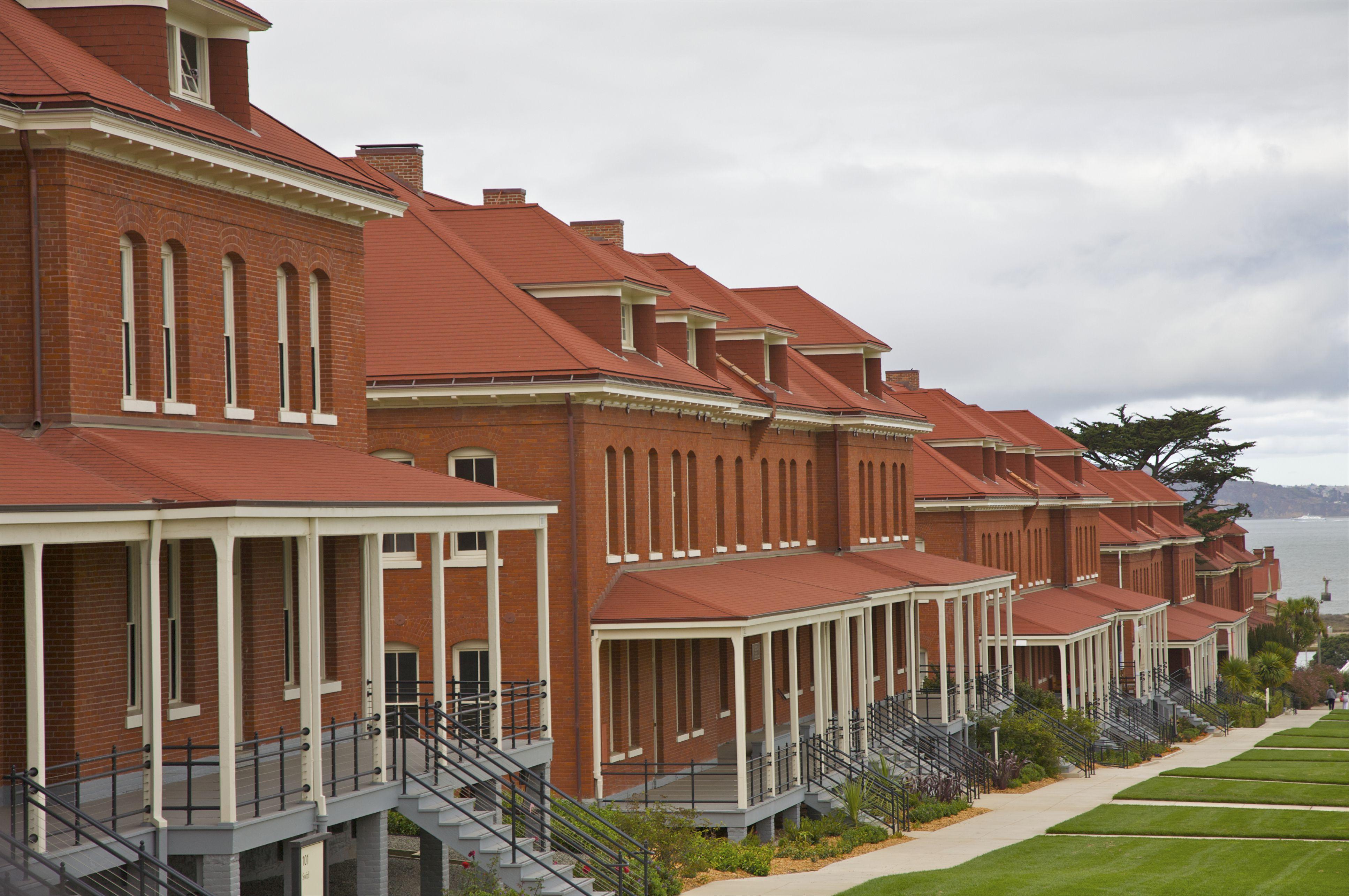 Red-orange bricks of landmark bayside buildings