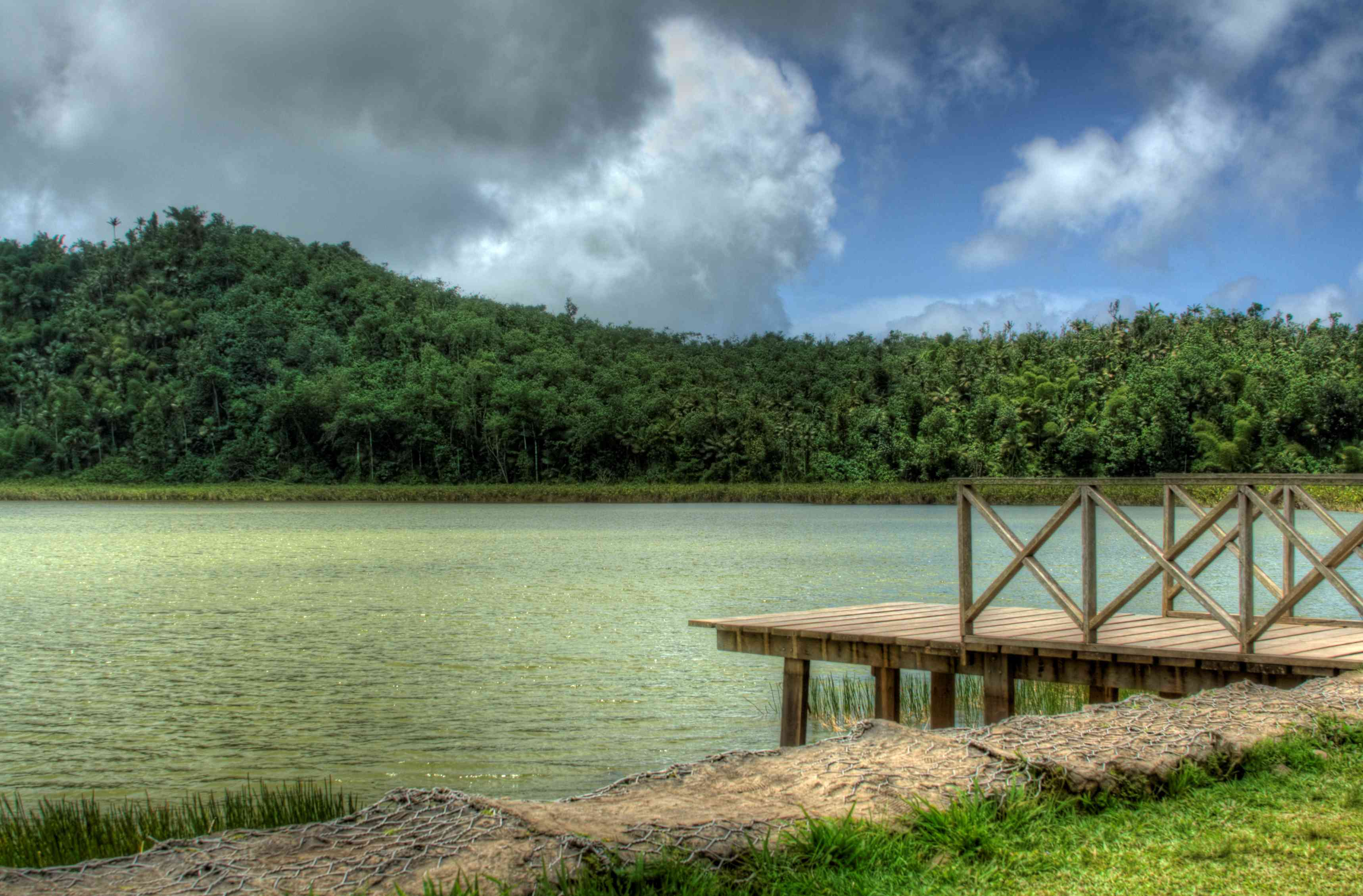 Crater Lake, Grand Etang Nature Reserve, Grenada with a wooden dock