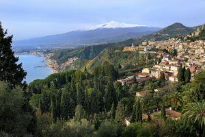 Italy, Sicily, Taormina, Mount Etna and the Ionian Sea