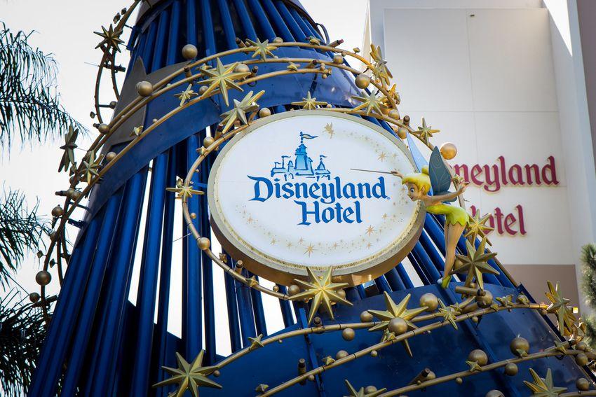 The Sorcerer's Hat outside the Disneyland Hotel.