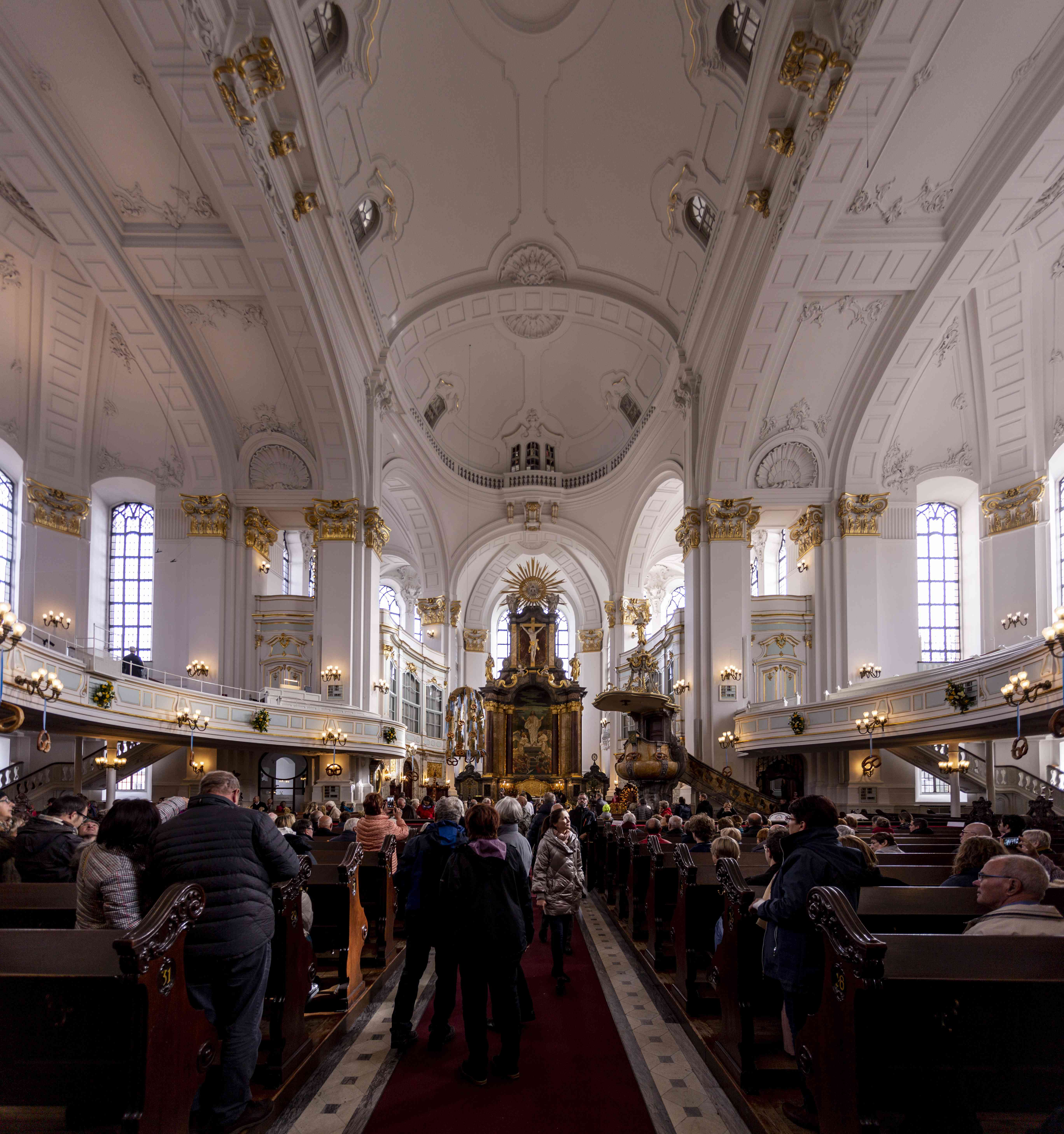 A large crowd inside the Church of St Michaelis