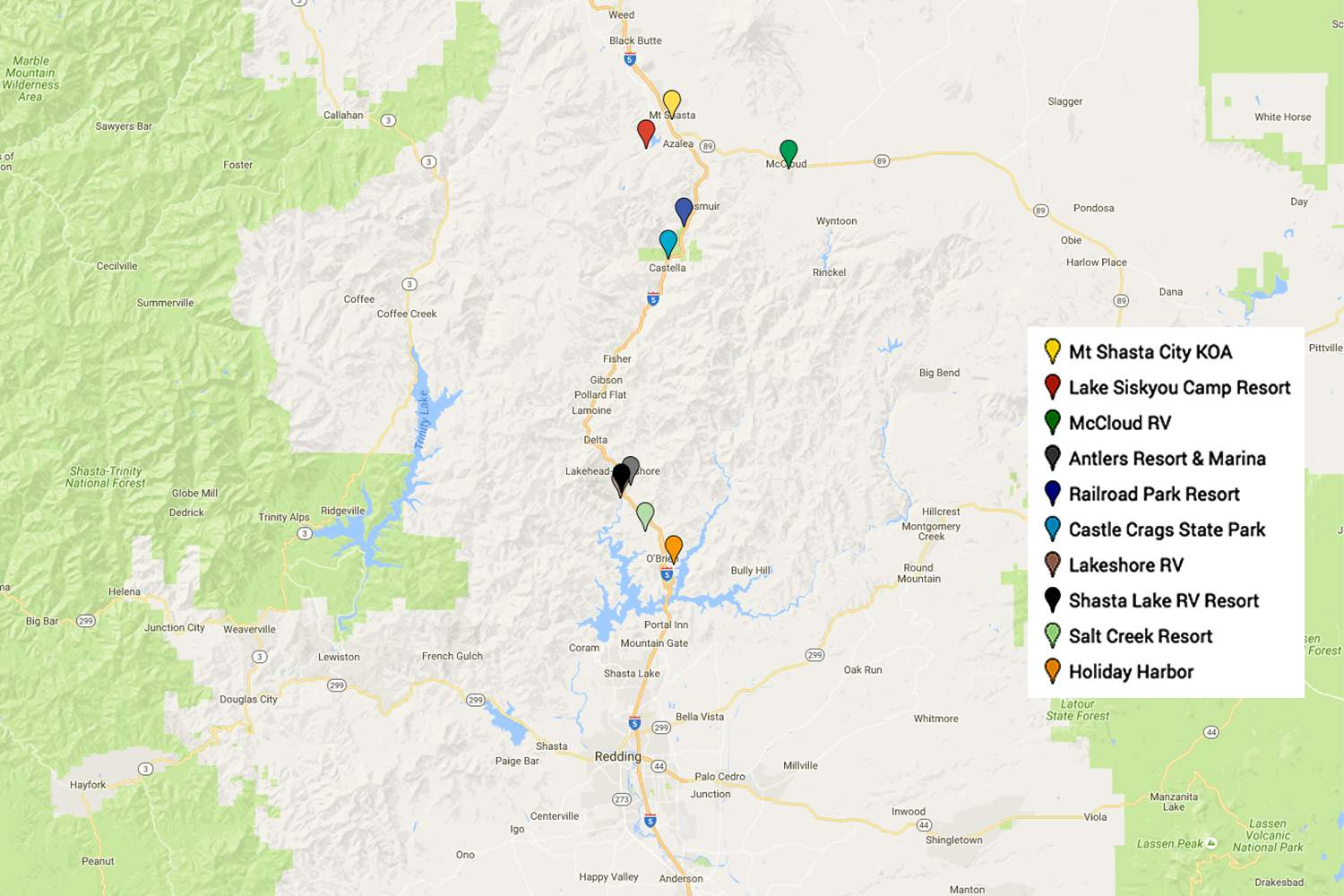 Campgrounds in the Mount Shasta Area
