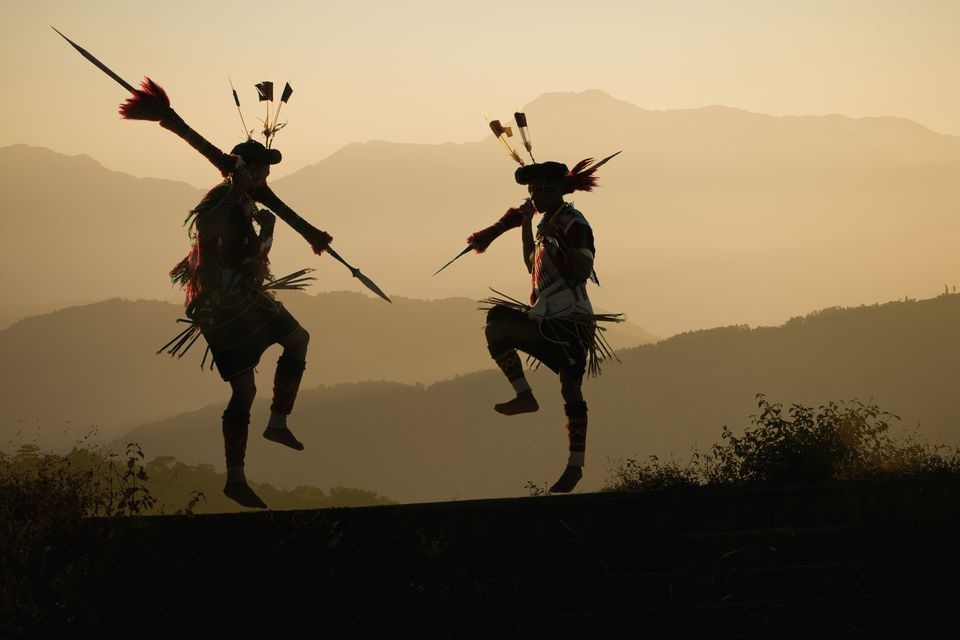 Angami Tribal Dancers in Northeast India.