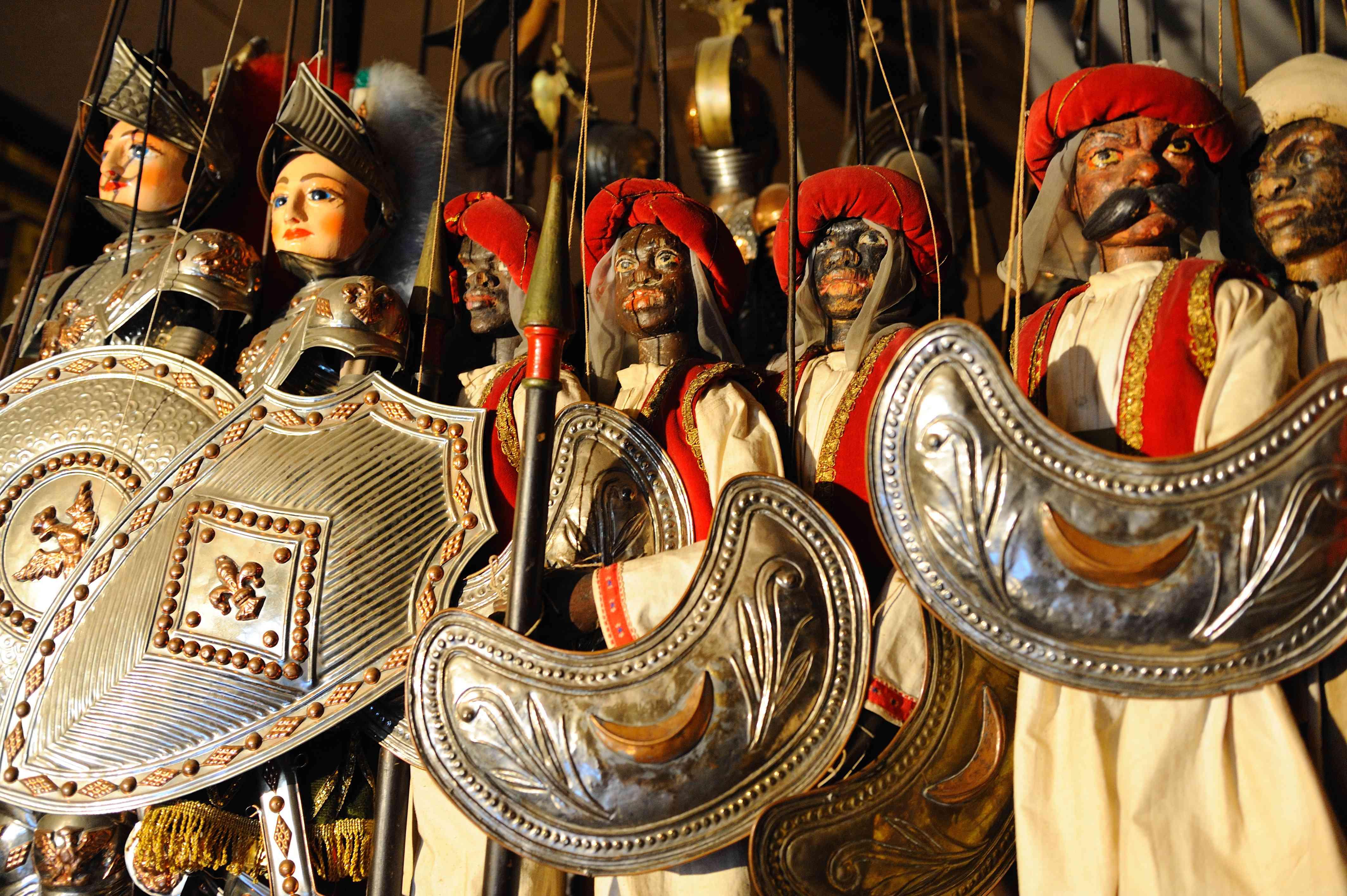 Marionettes on display at the Museo Internazionale delle Marionette Antonio Pasqualino, Palermo