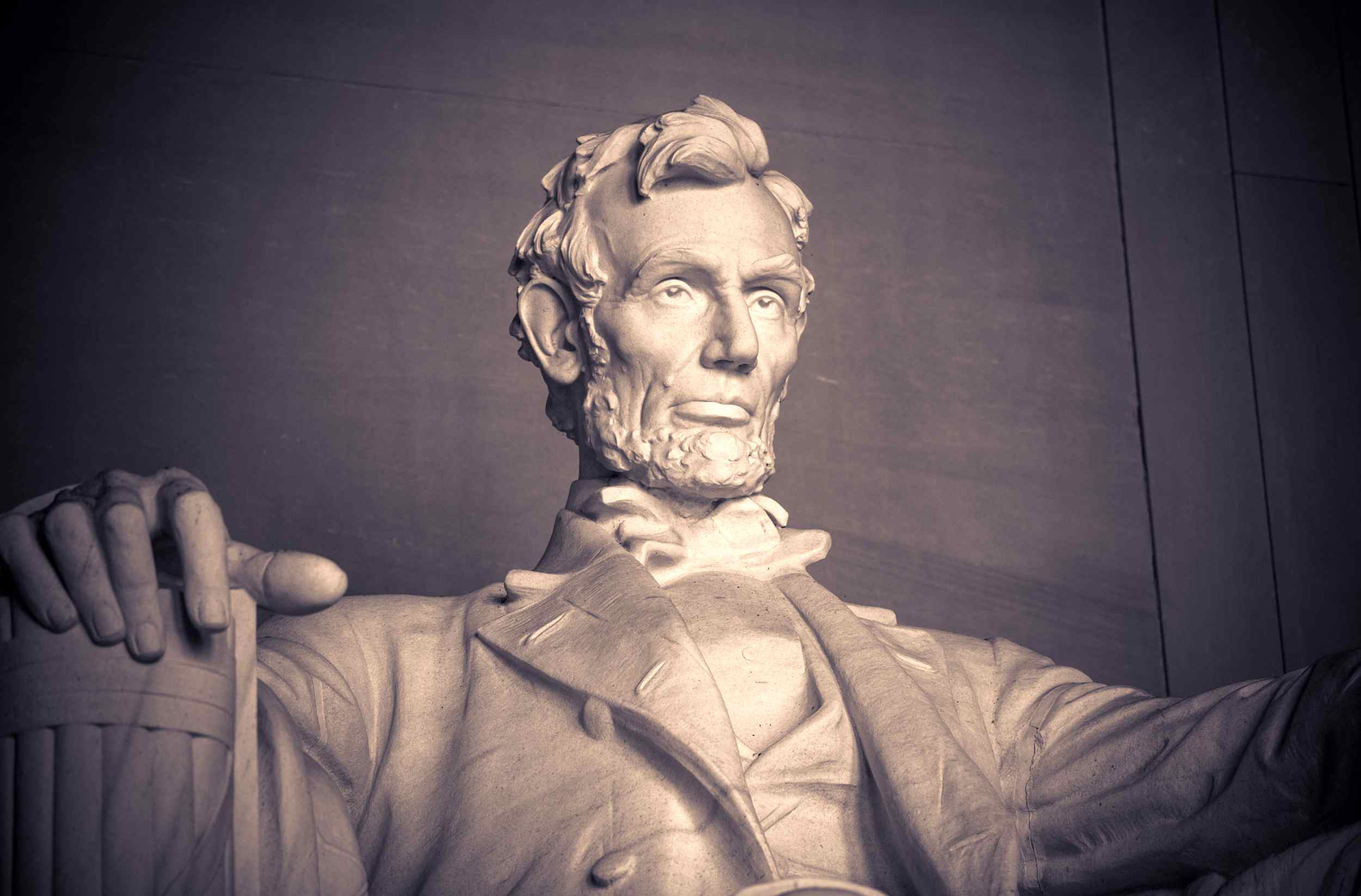 Closeup of the larger than life-size statue of President Abraham Lincoln, Lincoln Memorial