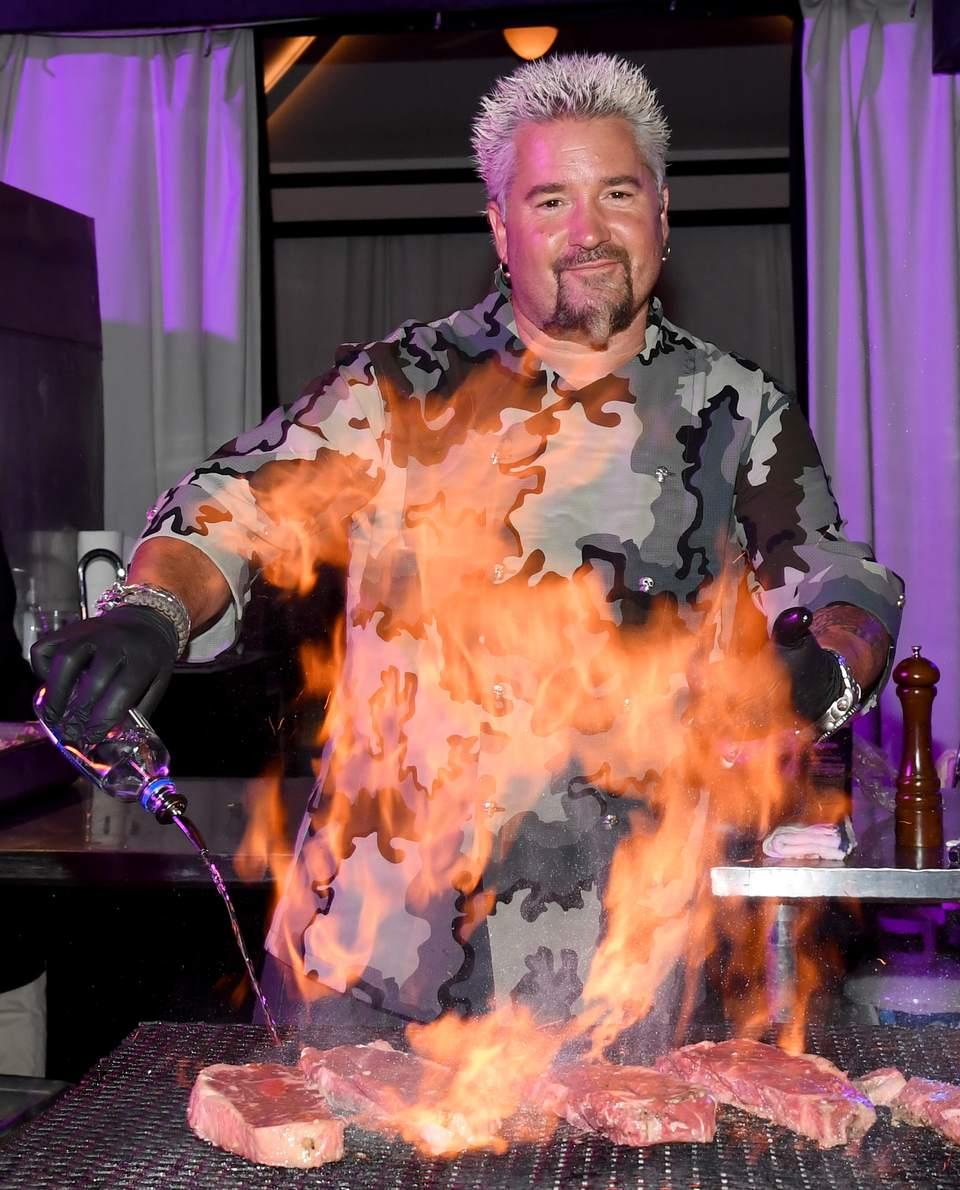 Guy Fieri grilling steak in Vegas