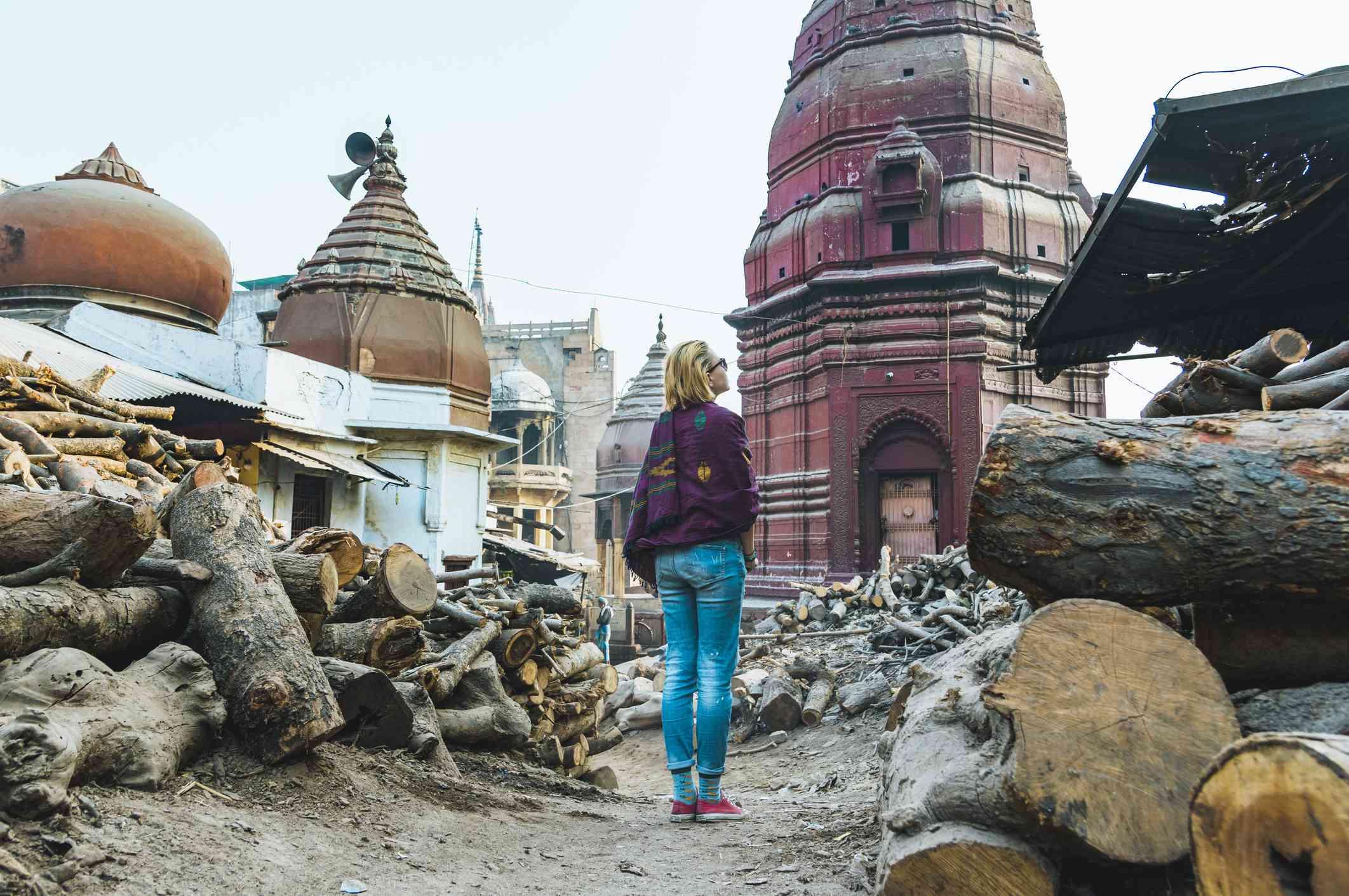 Tourist at Varanasi Burning ghats.