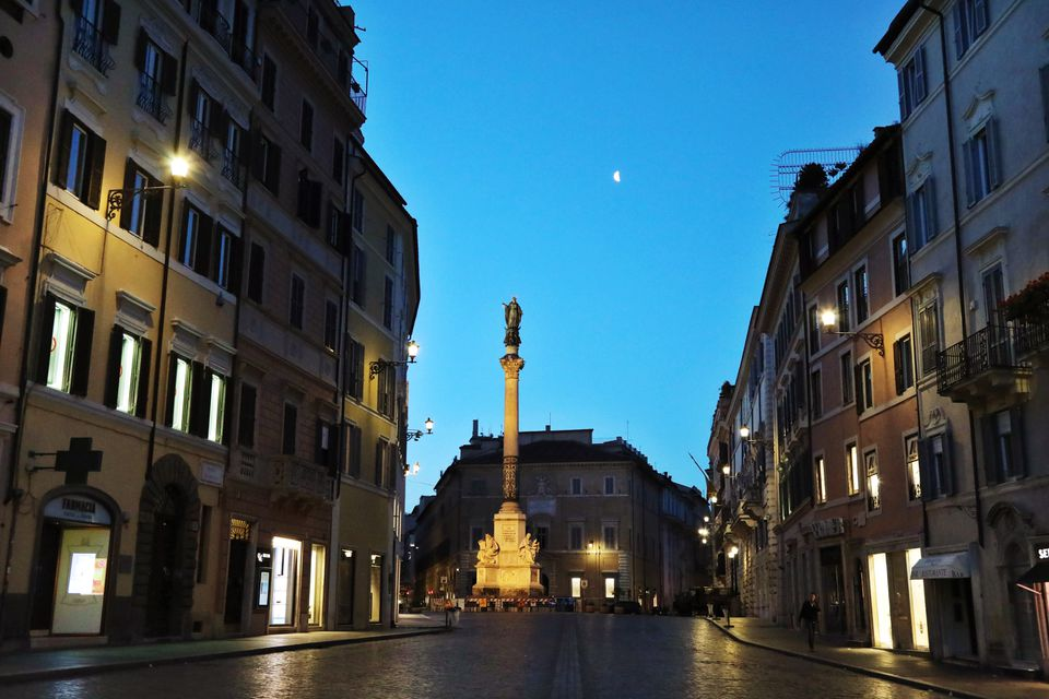 Rome street at night