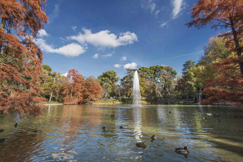 Retiro Park in Madrid, Spain in autumn