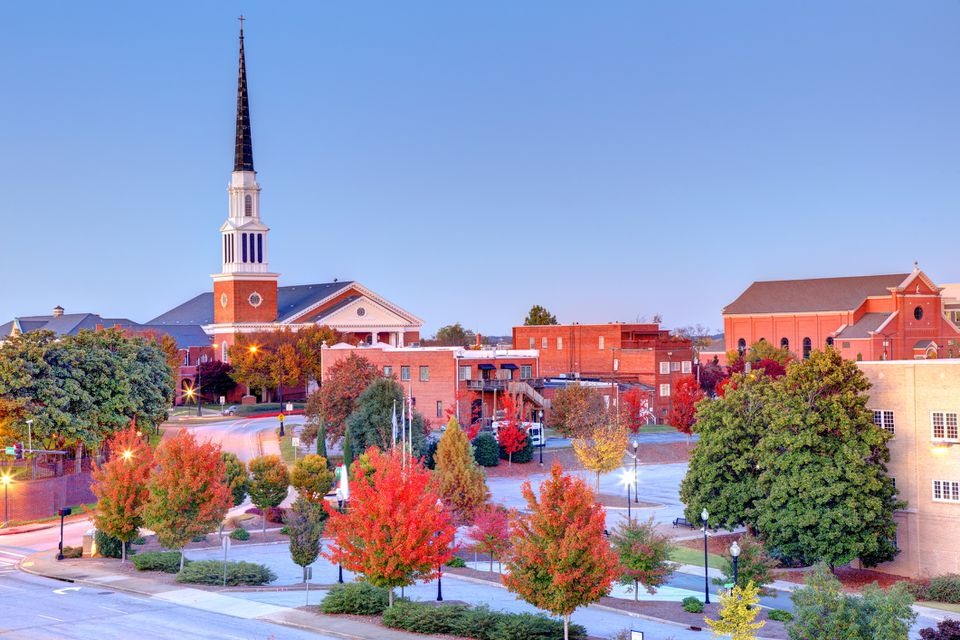 Autumn in Spartanburg, South Carolina at dusk