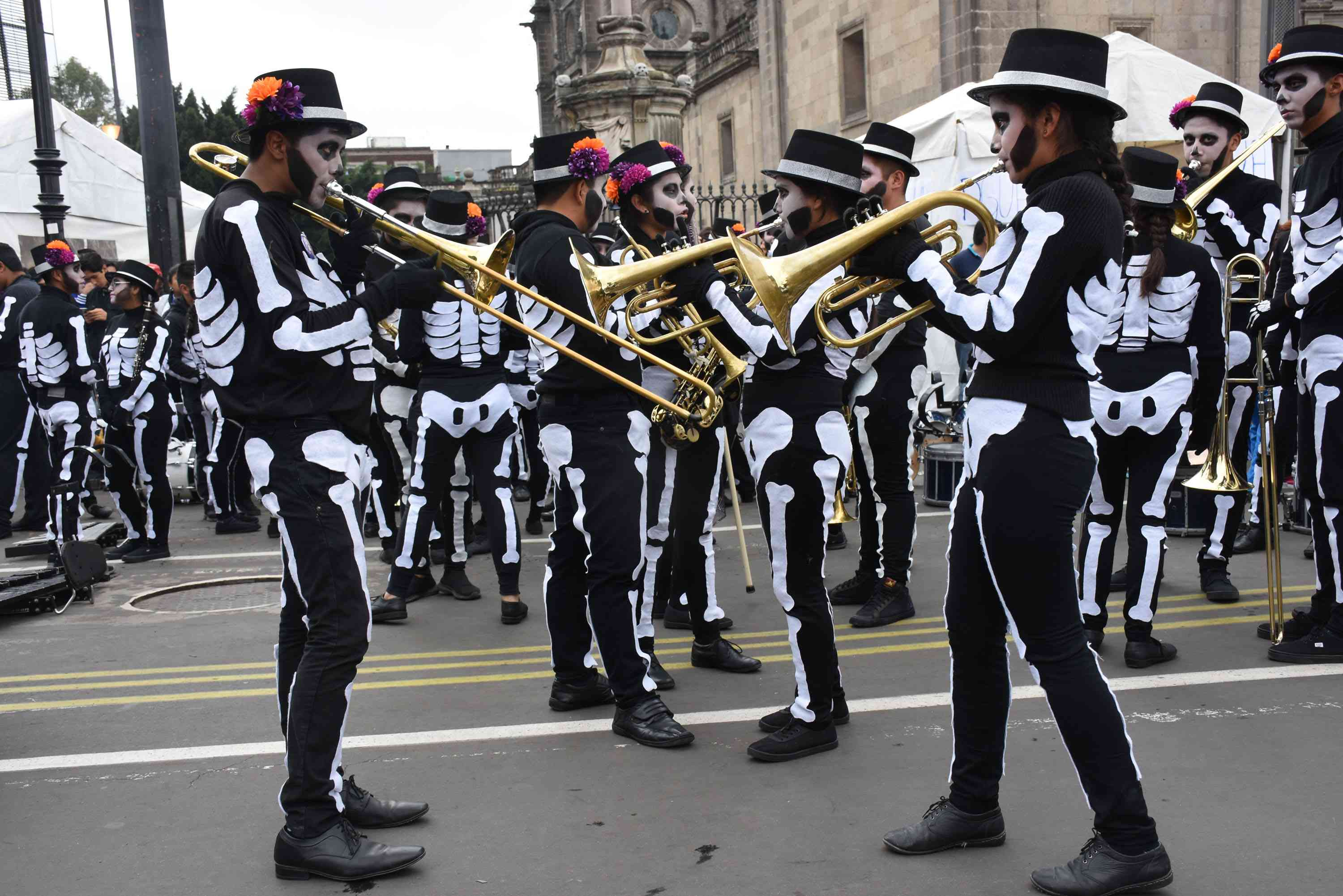 A skeleton band performs in the Day of the Dead Parade in Mexico City