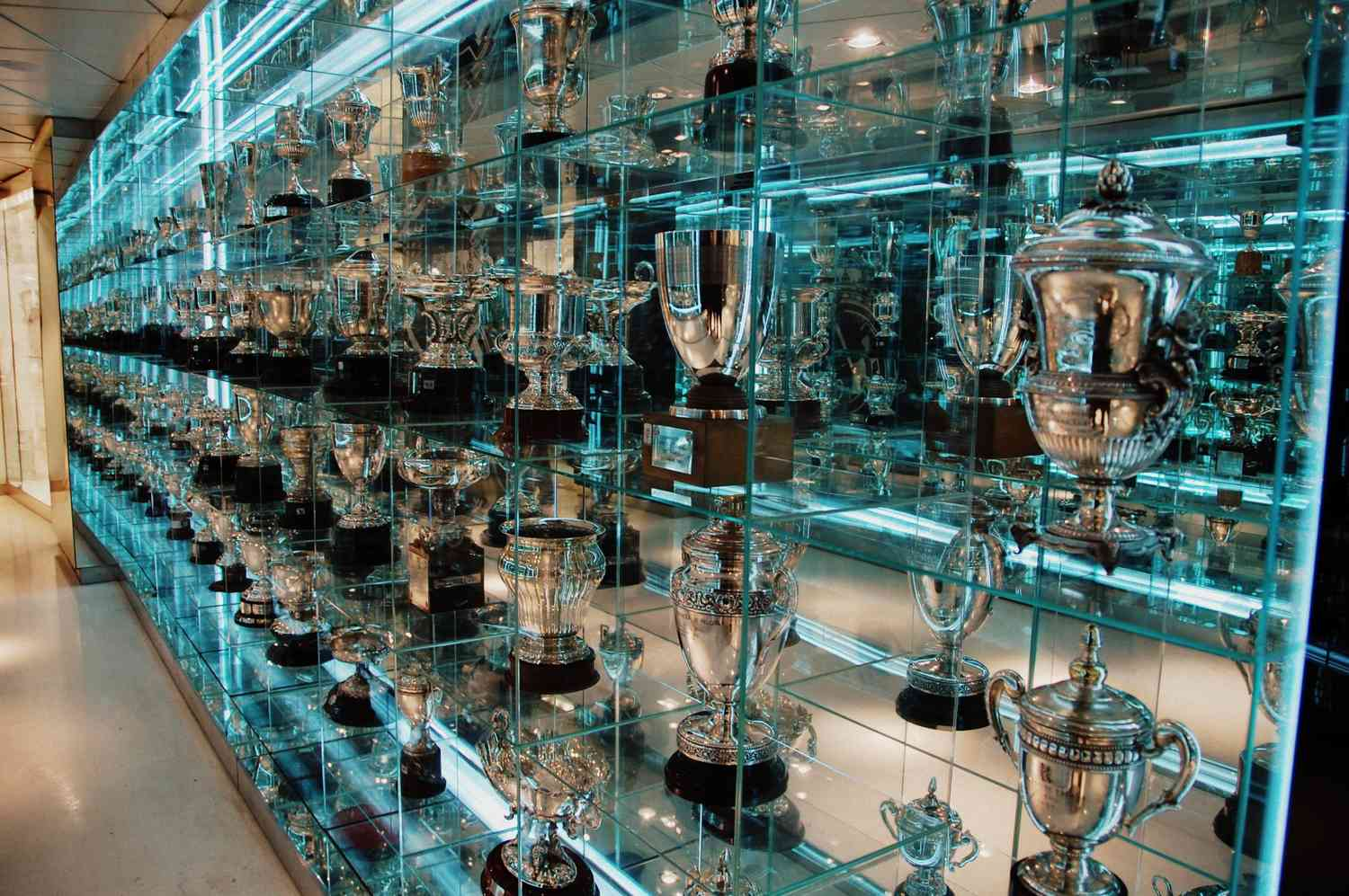 Trophy room at Santiago Bernabeu Stadium, home of the Real Madrid soccer club.
