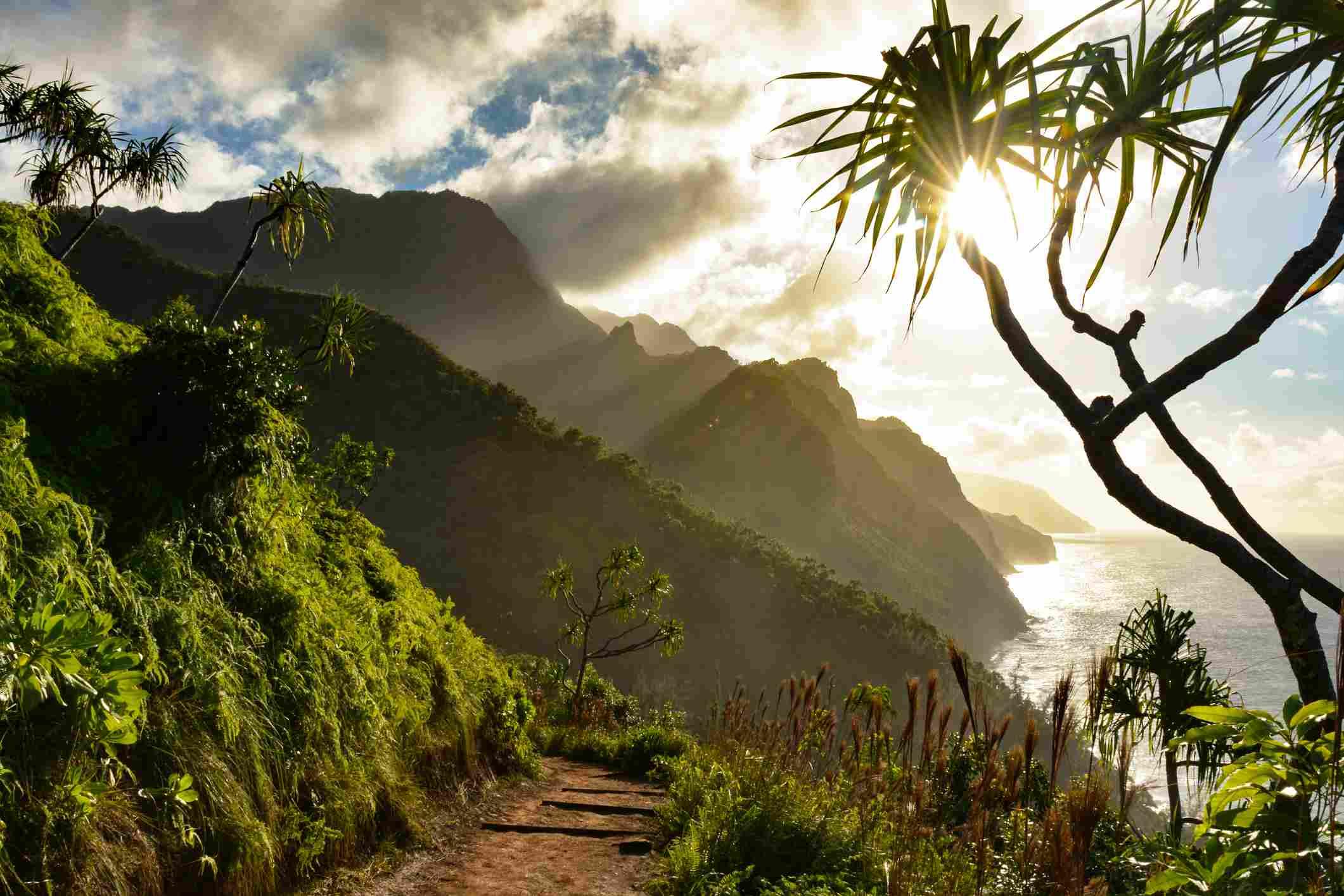 Beautiful Na Pali coast sunset from the Kalalau Trail on Kauai's north shore