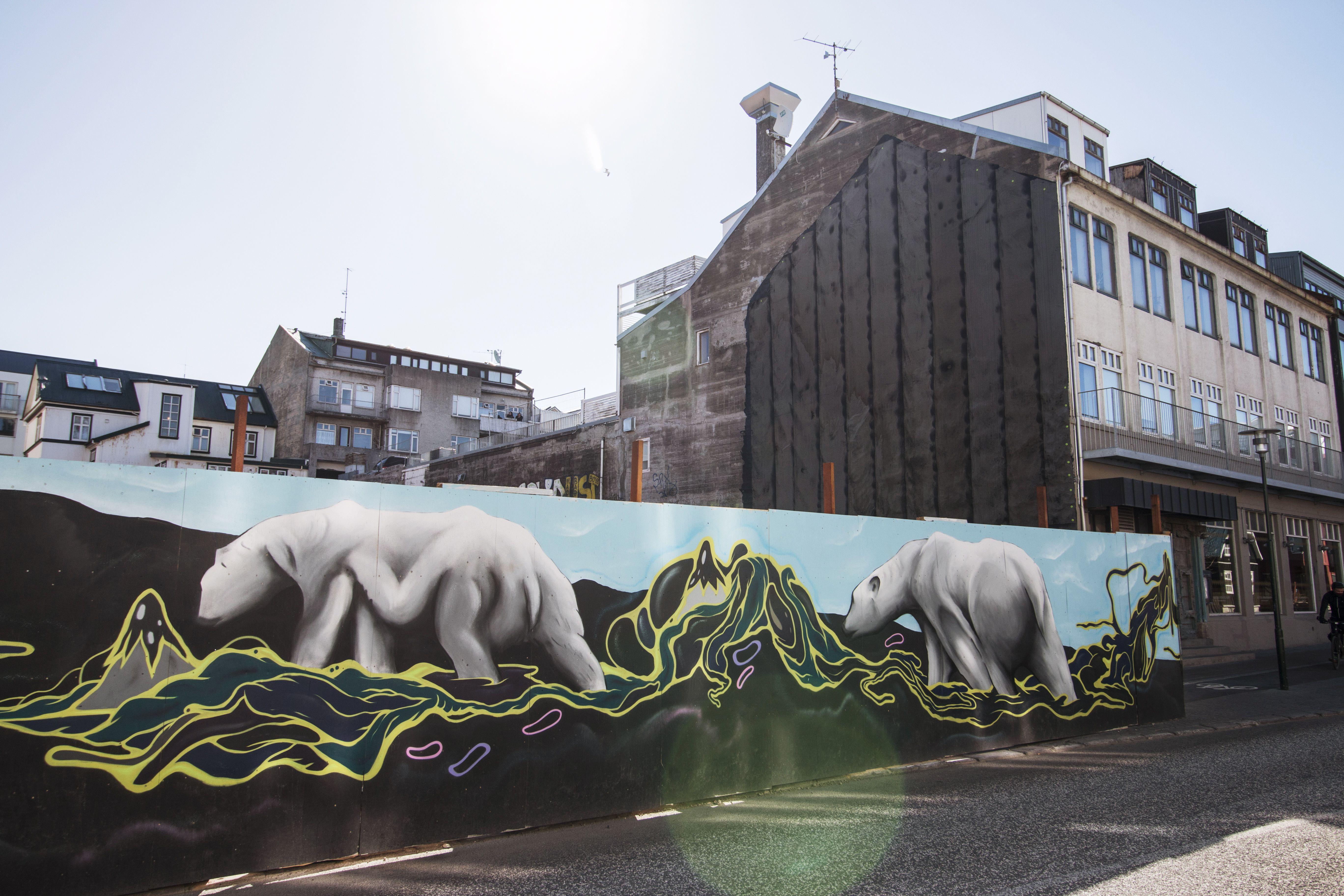 a mural in downtown Reykjavik