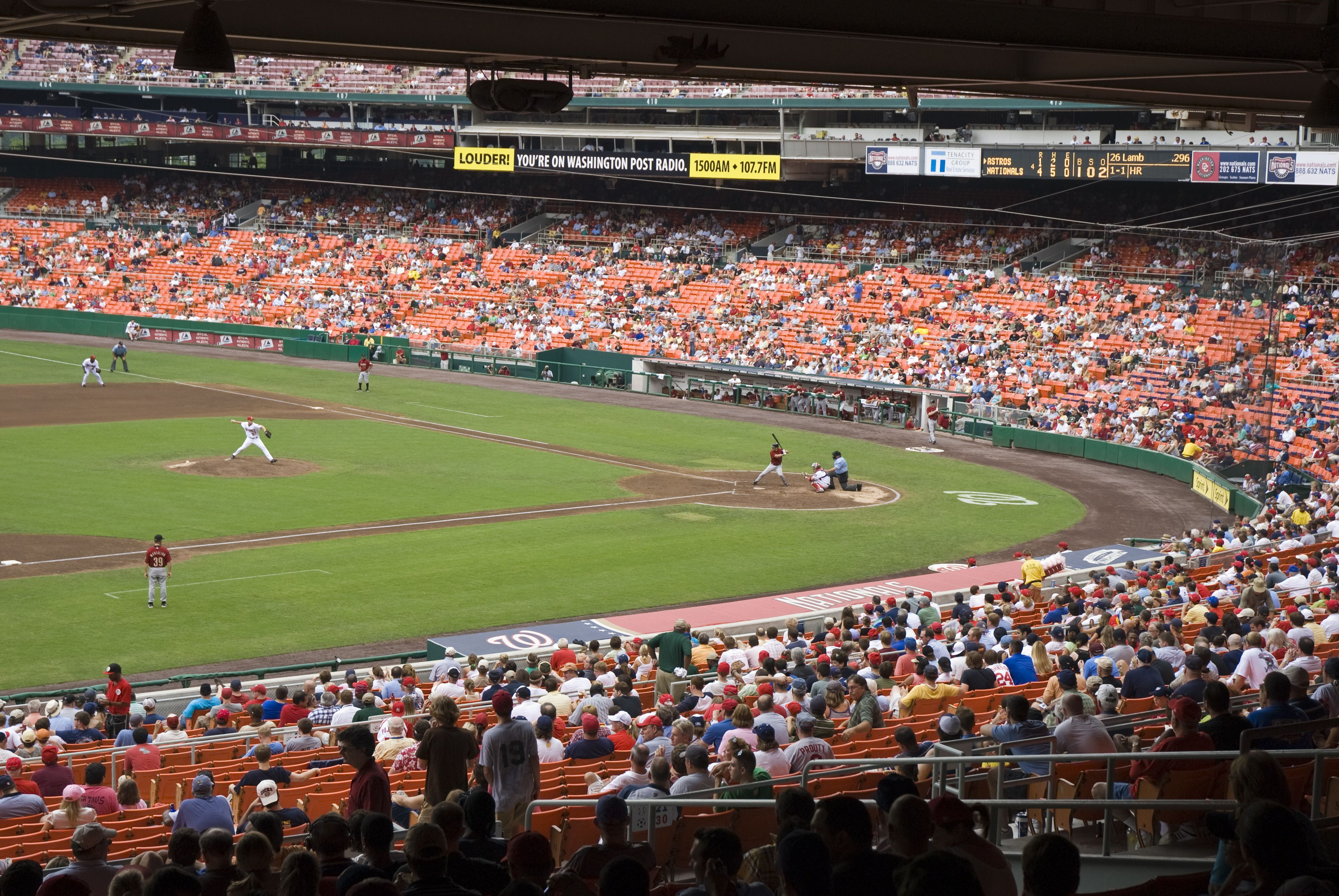 Washington Nationals baseball team playing at Nationals Park baseball stadium