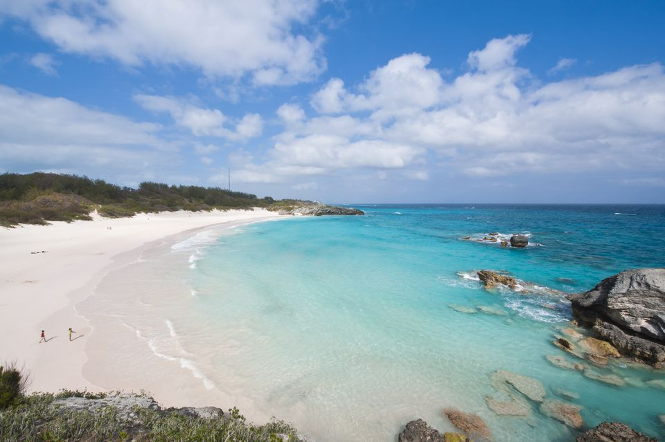 A Wide Shot Of Bermuda S Horseshoe Bay Beach