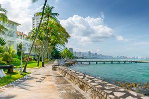Esplanade along the water in Georgetown, Penang, Malaysia