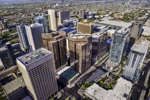 Phoenix, Arizona, looming aerial view of downtown cityscape skyline skyscrapers