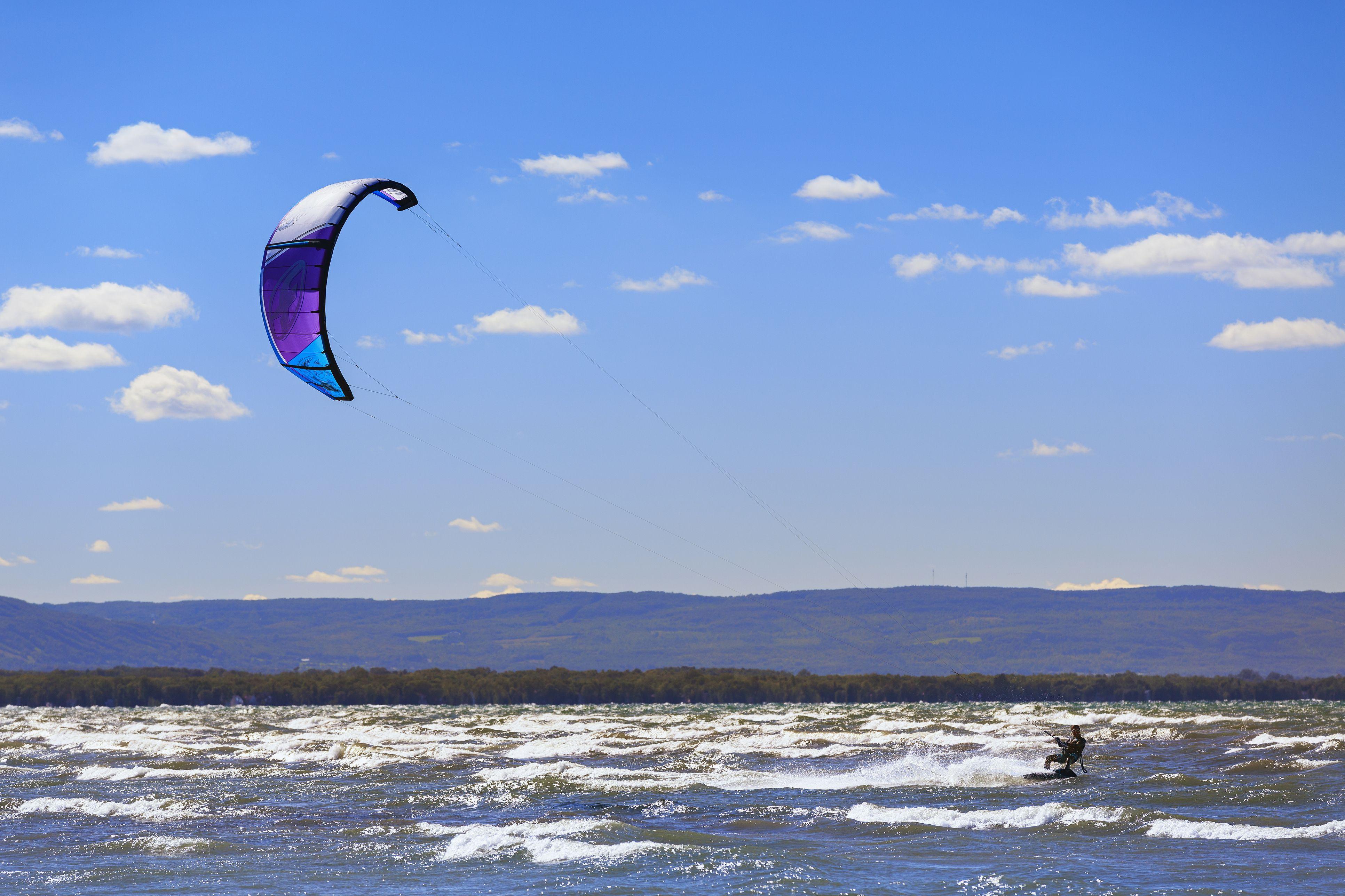 Kiteboarder at Wasaga Beach, Lake Huron, Ontario, Canada