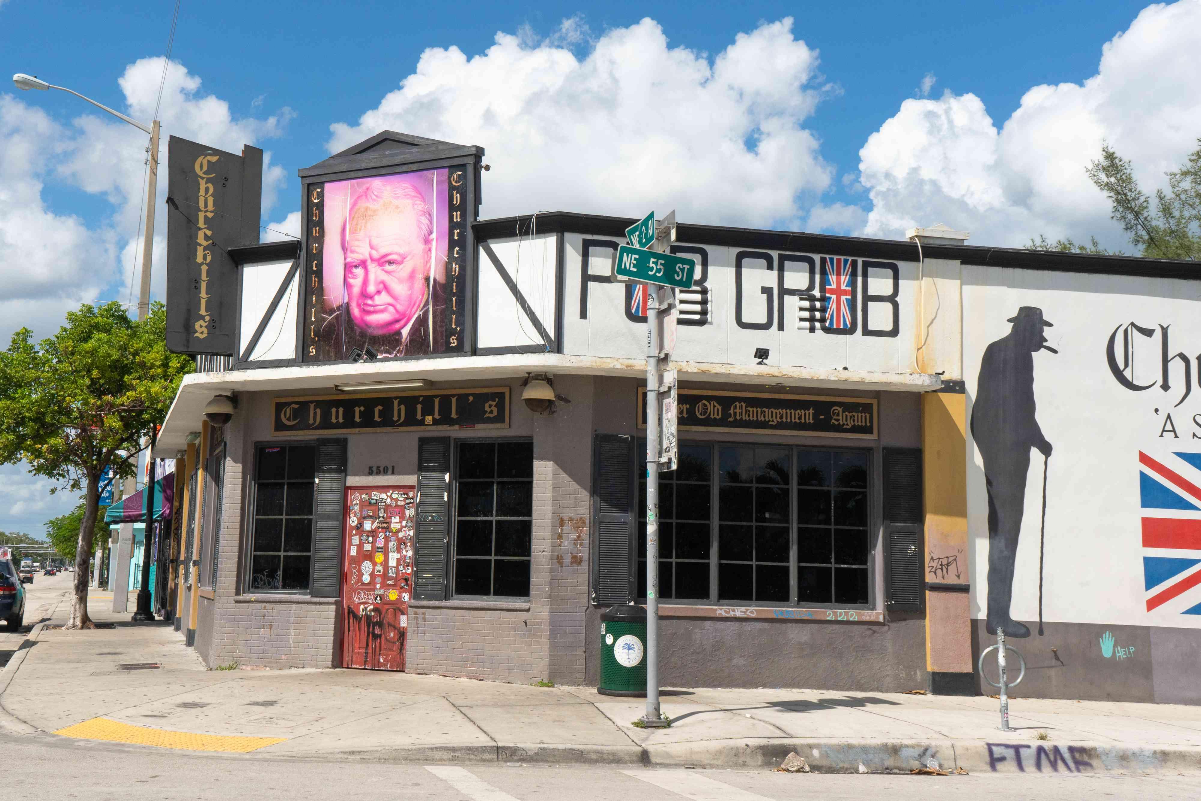 Exterior of Churchill's Pub