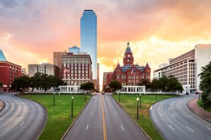 Sunrise, Dealey Plaza, Bank of America Building, Old Red Museum, Dallas, Texas, America