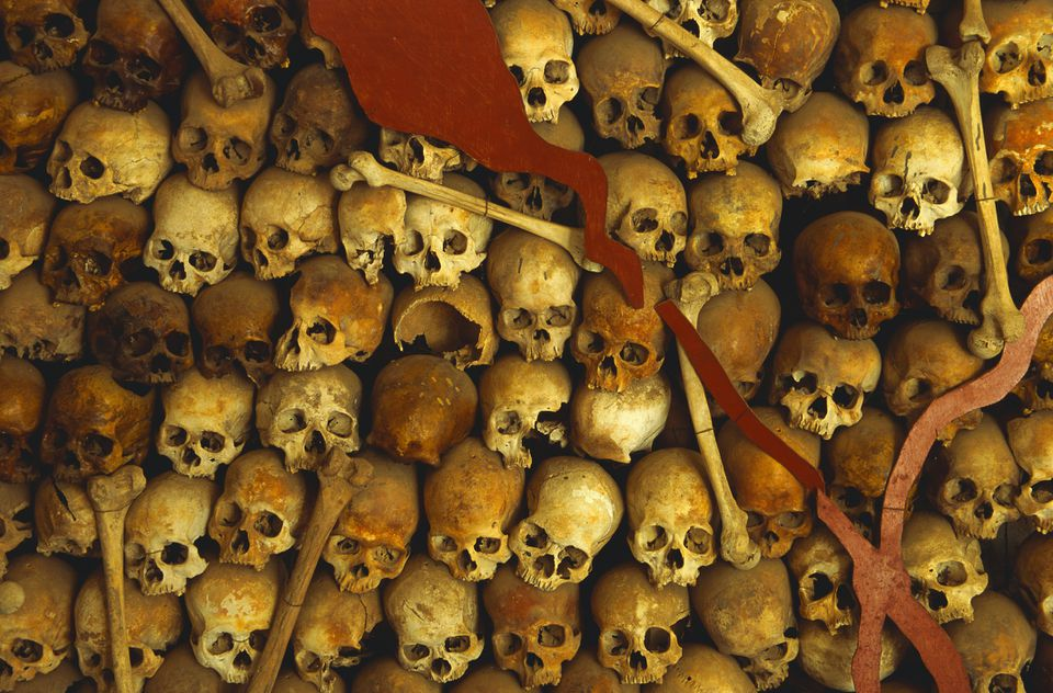 Map of skulls in Tuol Sleng, Cambodia