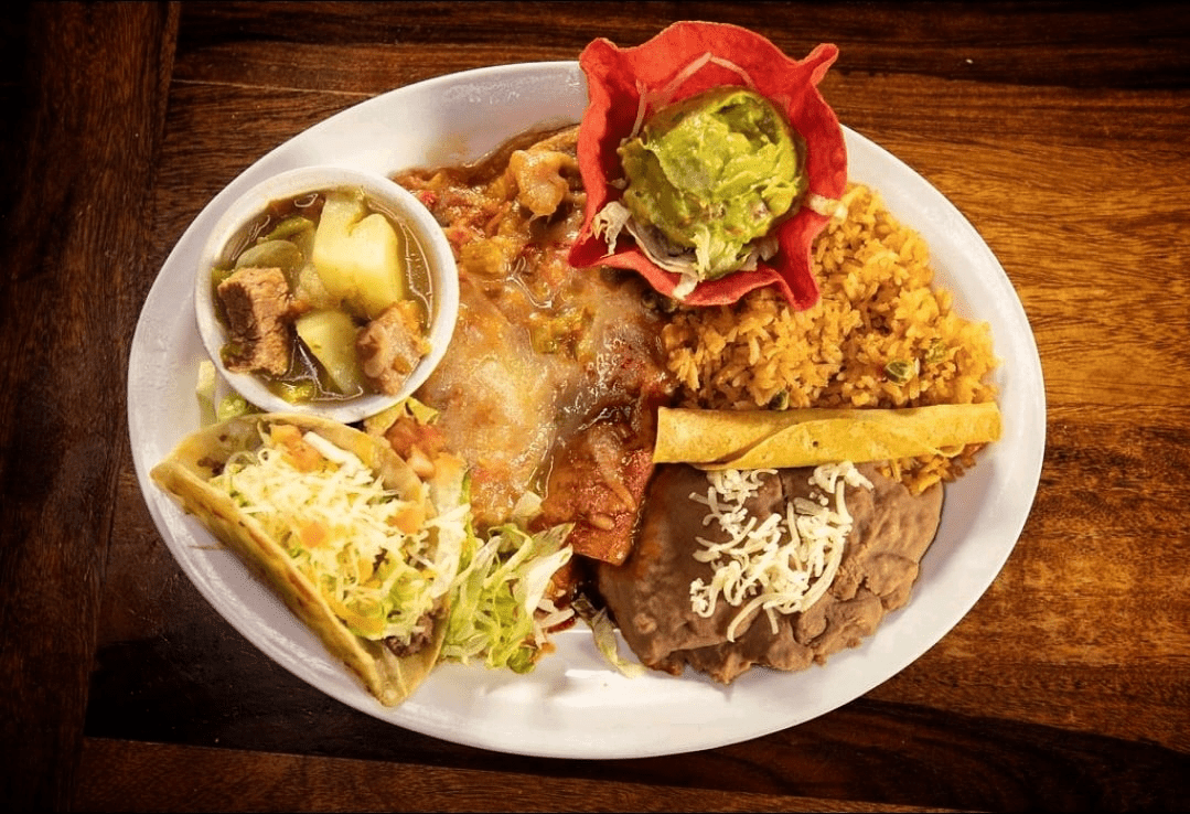Mexican combination plate at L & J Cafe