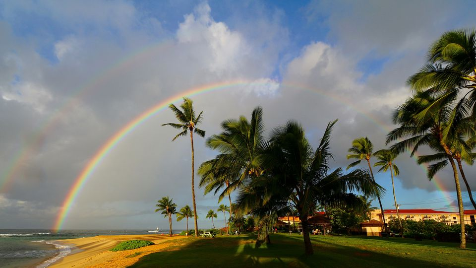rainbow over Poipu Beach, Koloa, Kauai, Hawaii