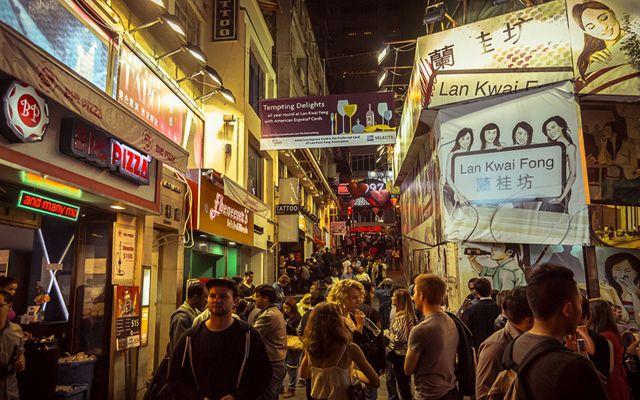 Lan Kwai Fong at night