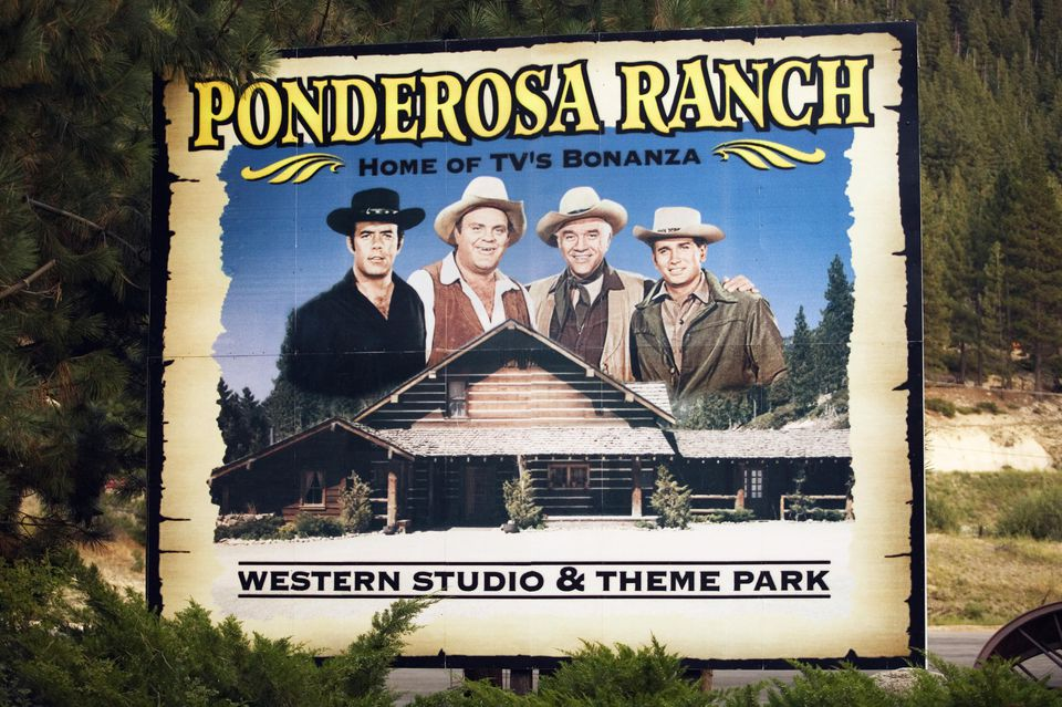USA, Nevada, Lake Tahoe, Incline Village, Sign for 'Ponderosa Ranch'