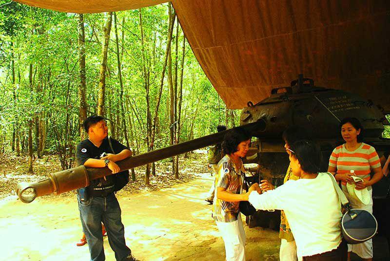 Captured tank in Cu Chi exhibit.