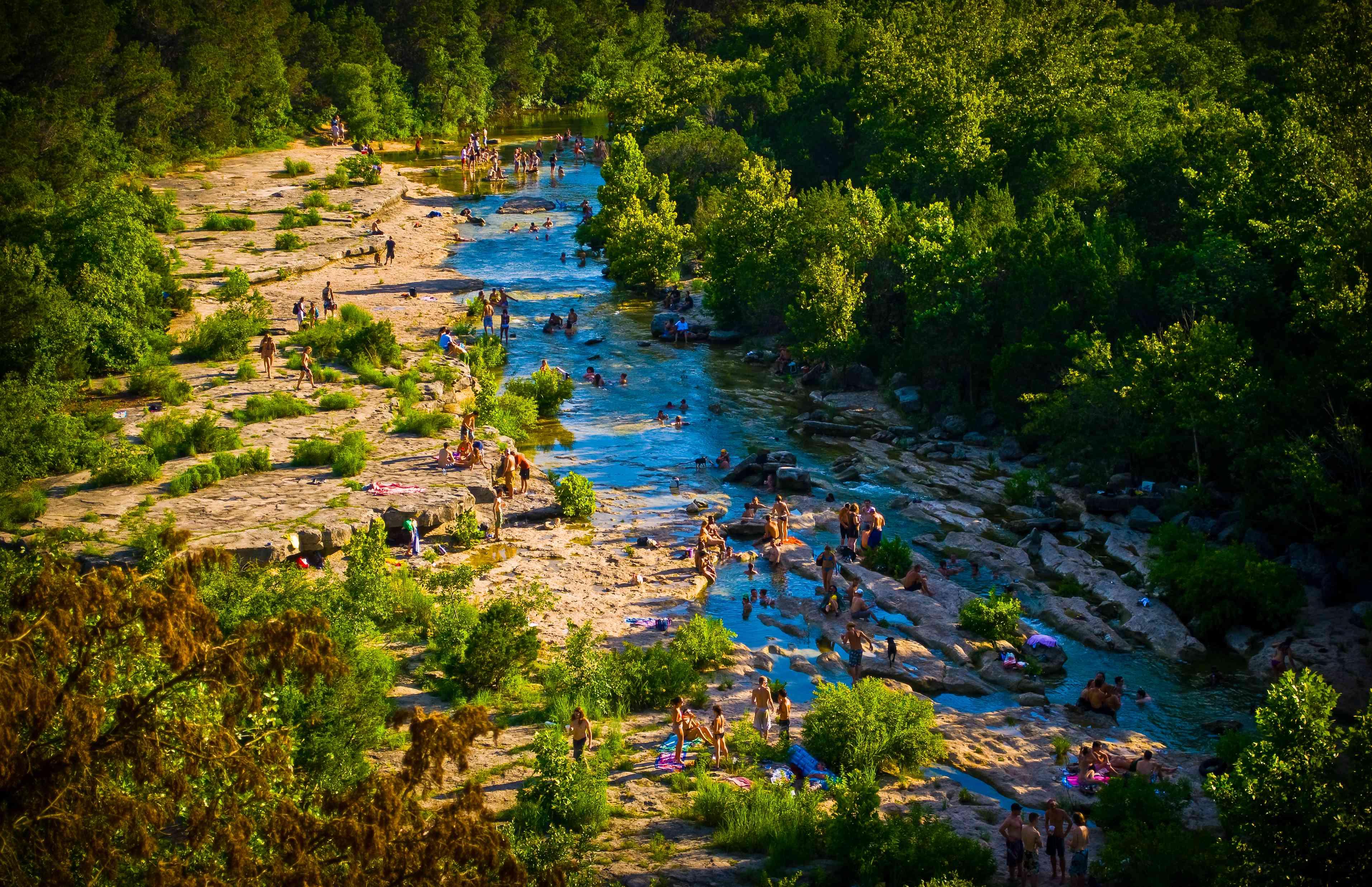 Large Crowd Austin , Texas Greenbelt Summer Fun Barton Creek