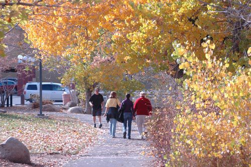 Fall walk by the Truckee River in downtown Reno, Nevada, NV