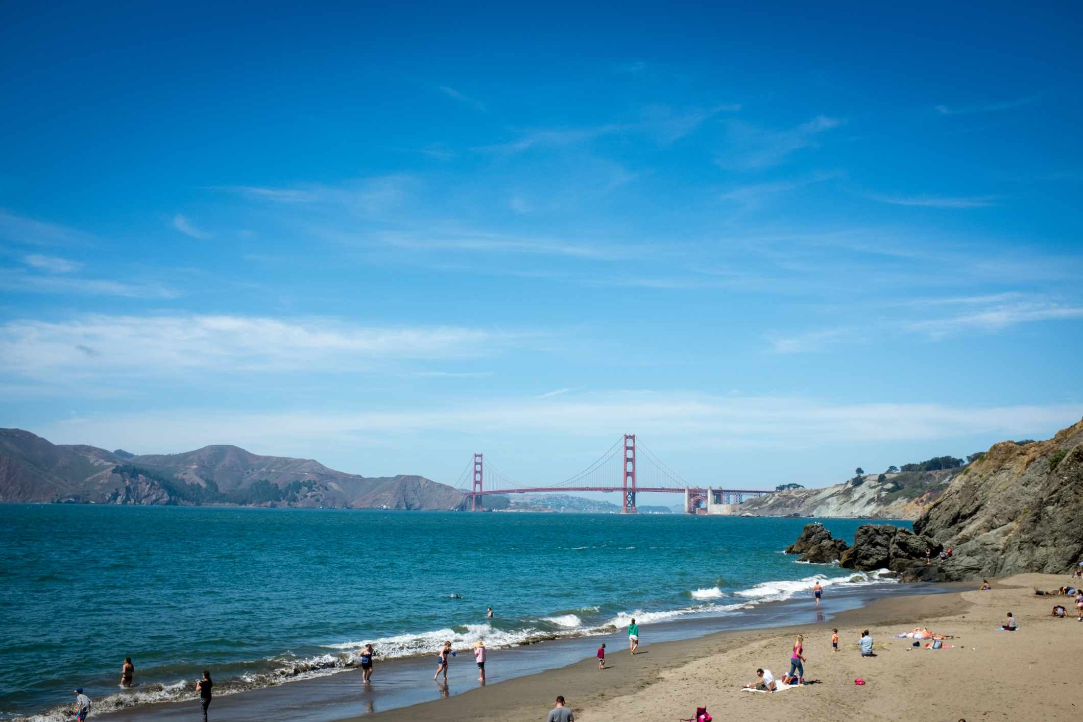 The Golden Gate Bridge from China Beach in San Francisco