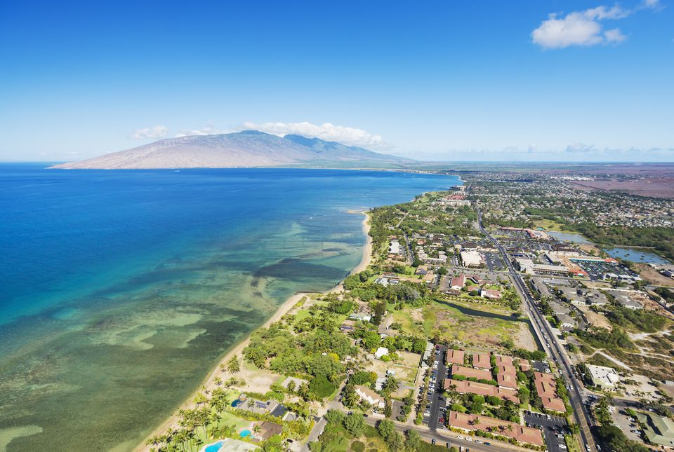 Aerial view of the Southern coast of Maui and Kihei Town