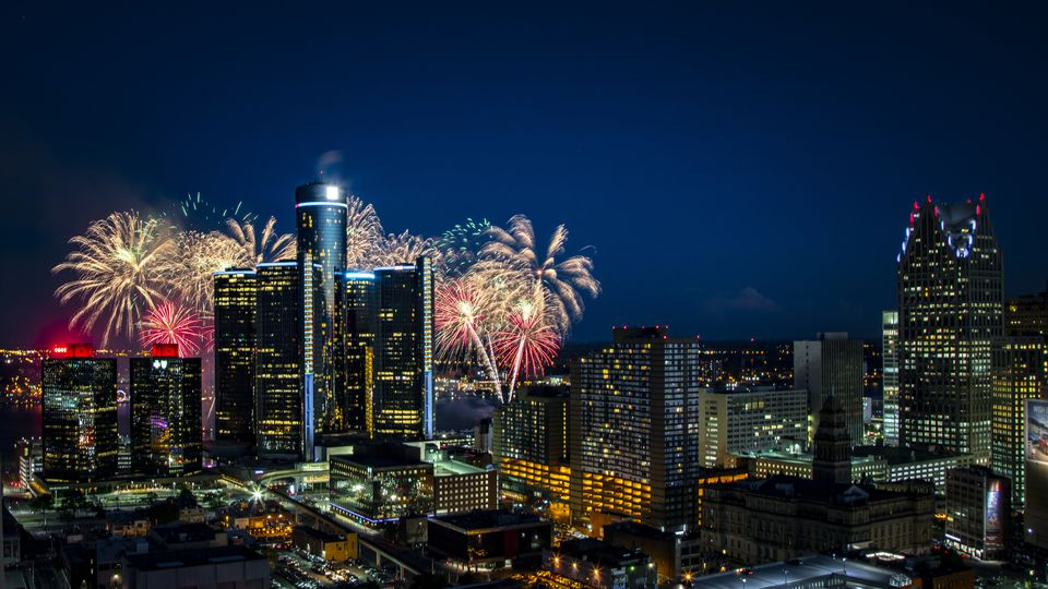 Detroit's skyline with fireworks