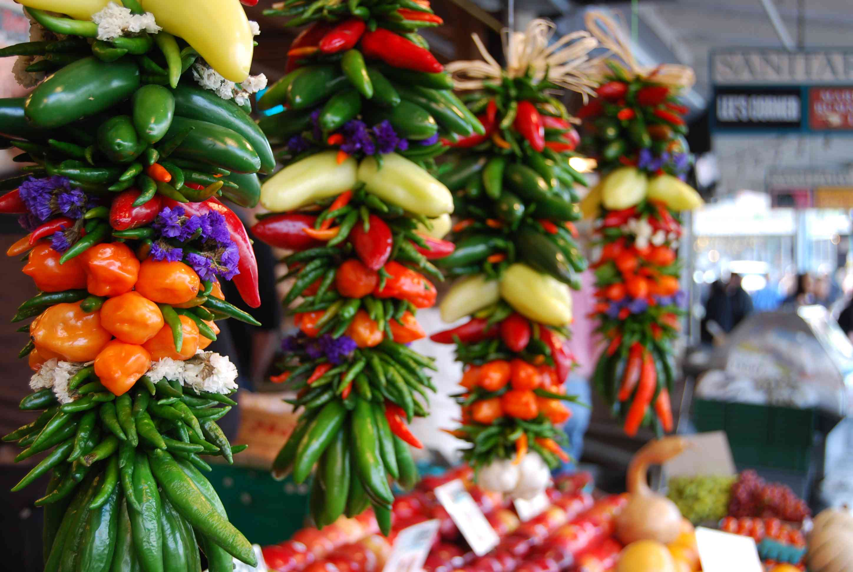 Chiles and peppers for sale at outdoor festival