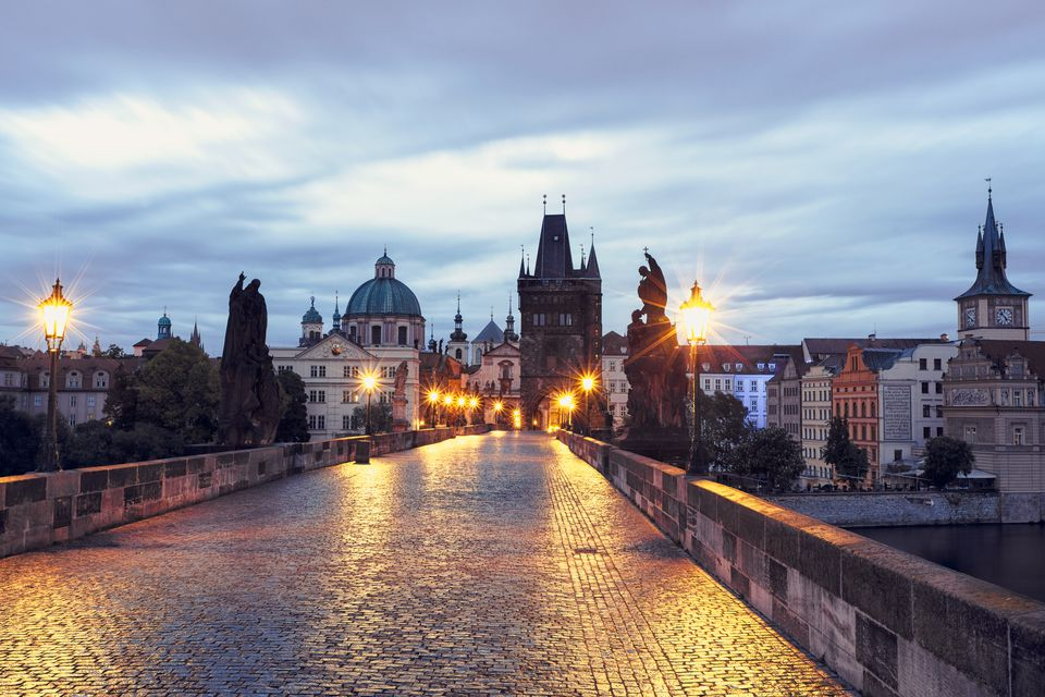 Czech Republic, Prague, Blue hour at Charles Bridge