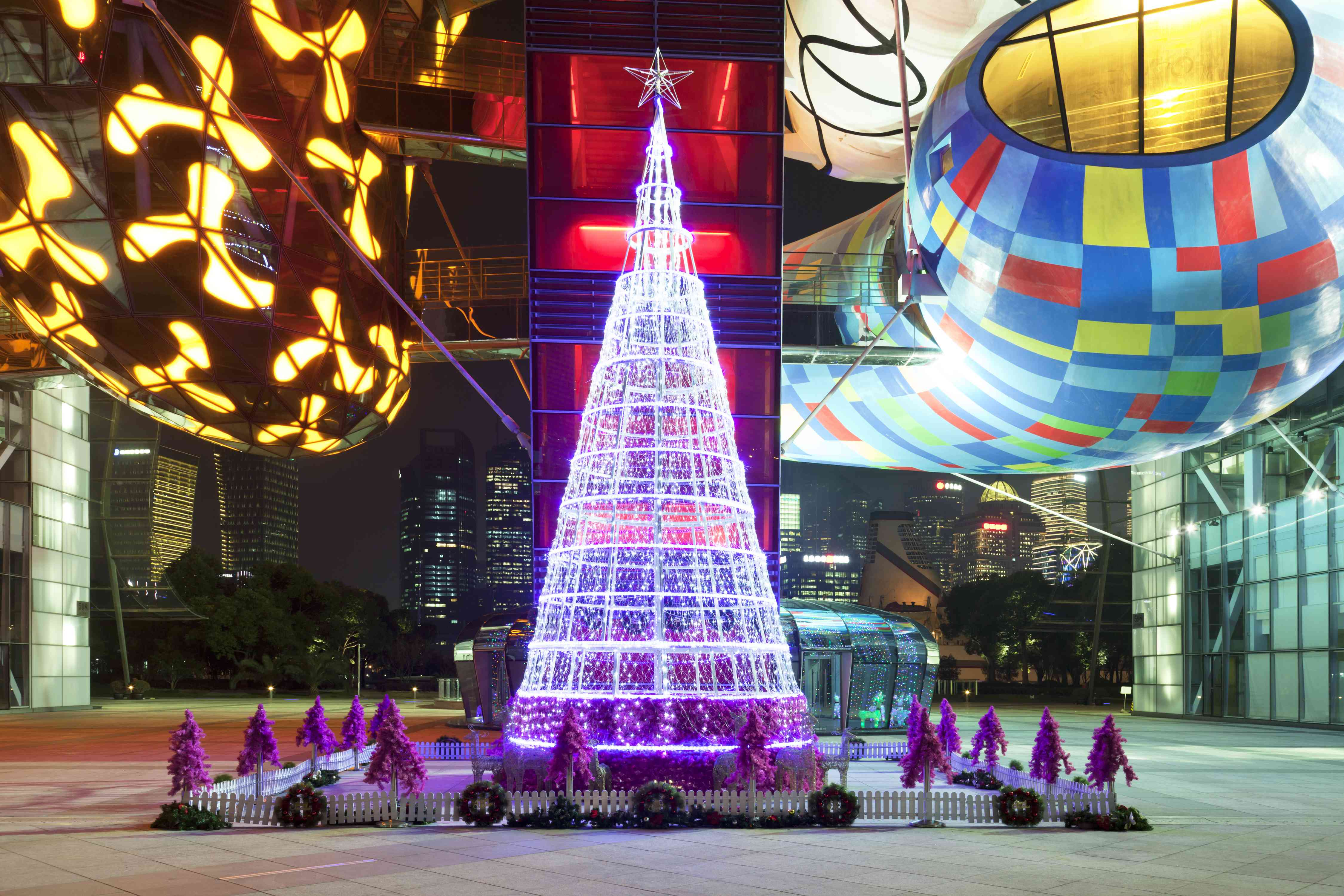 A colorful Christmas display in Shanghai